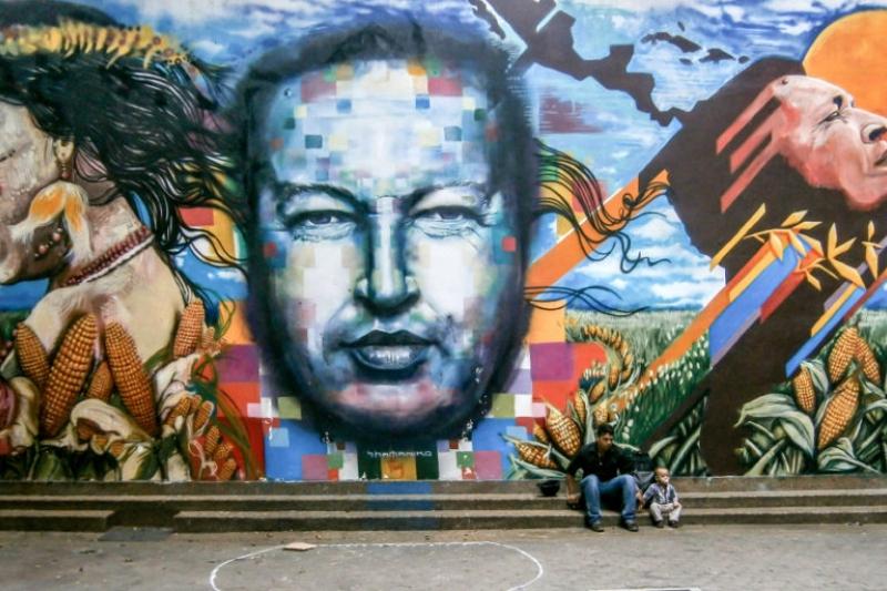 Mural of former Venezuelan President Hugo Chavez in Bellas Artes, central Caracas. (Courtesy)
